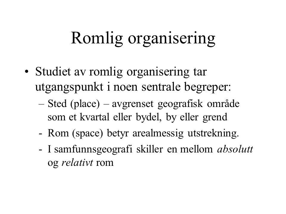 Romlig organisering Studiet av romlig organisering tar utgangspunkt i noen sentrale begreper: –Sted (place) – avgrenset geografisk område som et kvart
