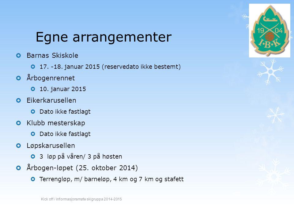Egne arrangementer  Barnas Skiskole  17. -18. januar 2015 (reservedato ikke bestemt)  Årbogenrennet  10. januar 2015  Eikerkarusellen  Dato ikke