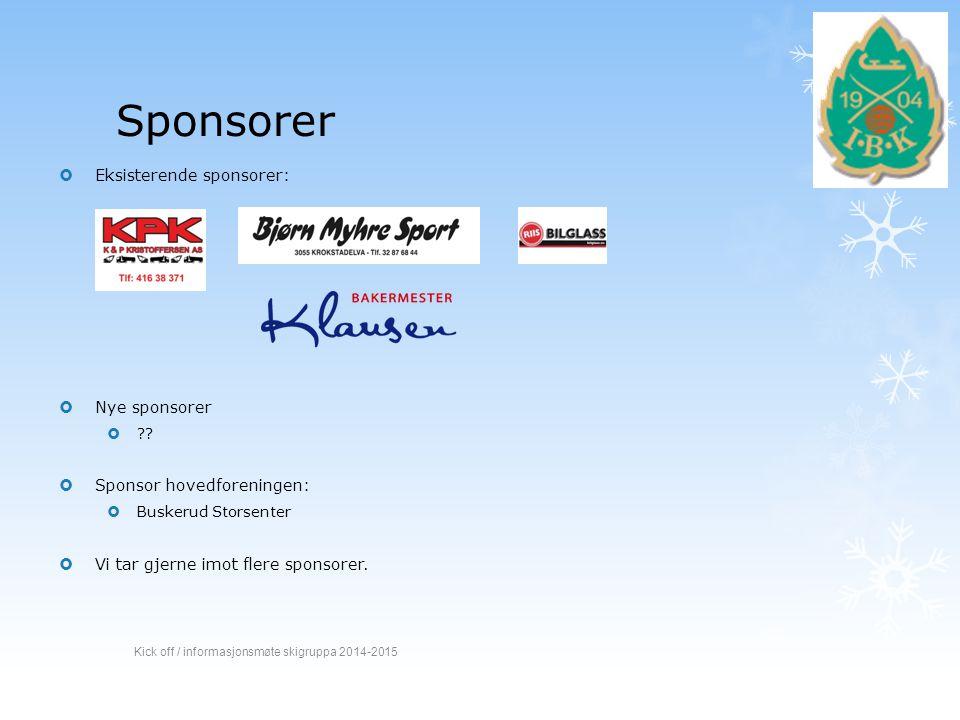 Sponsorer  Eksisterende sponsorer:  Nye sponsorer  ??  Sponsor hovedforeningen:  Buskerud Storsenter  Vi tar gjerne imot flere sponsorer. Kick o
