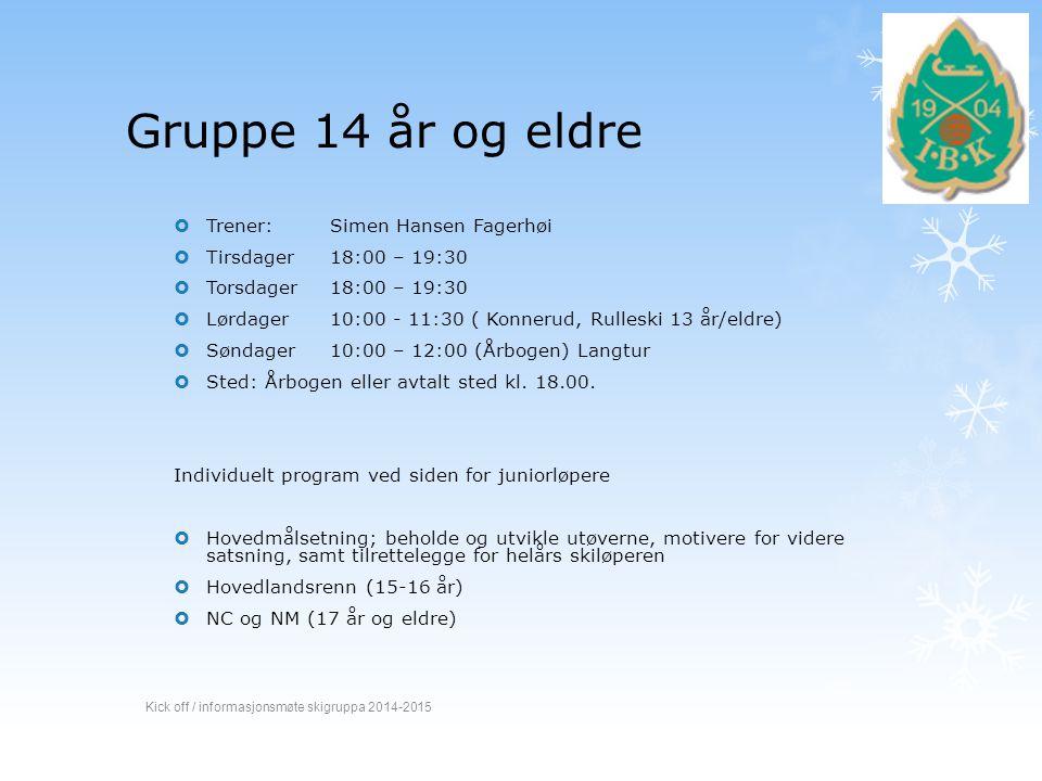 Gruppe 14 år og eldre  Trener: Simen Hansen Fagerhøi  Tirsdager 18:00 – 19:30  Torsdager 18:00 – 19:30  Lørdager 10:00 - 11:30 ( Konnerud, Rullesk