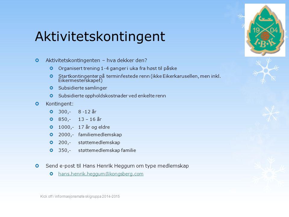 Spørsmål? Kick off / informasjonsmøte skigruppa 2014-2015