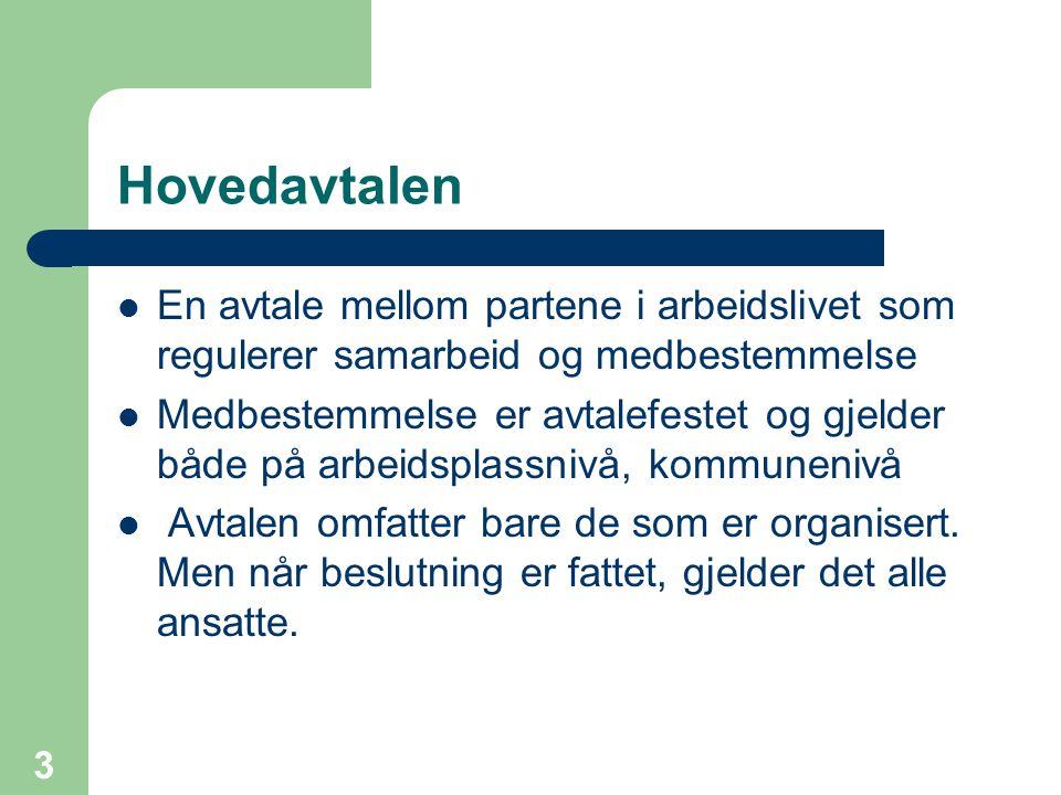 3 Hovedavtalen En avtale mellom partene i arbeidslivet som regulerer samarbeid og medbestemmelse Medbestemmelse er avtalefestet og gjelder både på arb