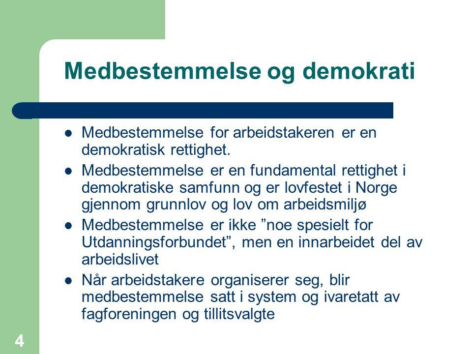 4 Medbestemmelse og demokrati Medbestemmelse for arbeidstakeren er en demokratisk rettighet. Medbestemmelse er en fundamental rettighet i demokratiske