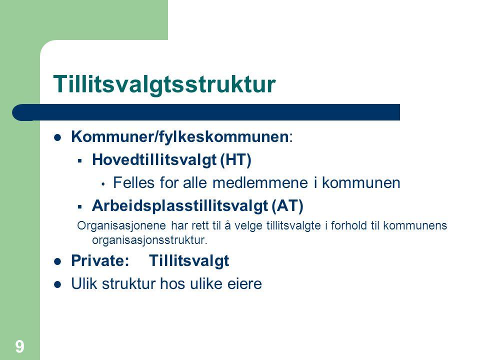9 Tillitsvalgtsstruktur Kommuner/fylkeskommunen:  Hovedtillitsvalgt (HT) Felles for alle medlemmene i kommunen  Arbeidsplasstillitsvalgt (AT) Organi