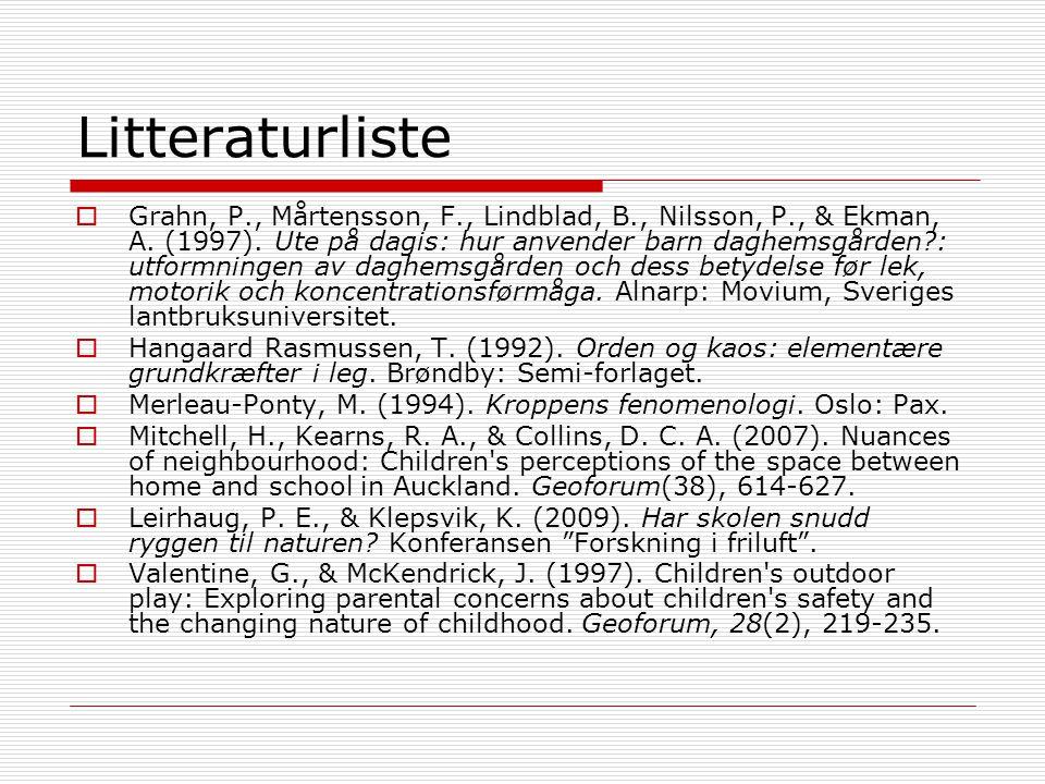 Litteraturliste  Grahn, P., Mårtensson, F., Lindblad, B., Nilsson, P., & Ekman, A. (1997). Ute på dagis: hur anvender barn daghemsgården?: utformning