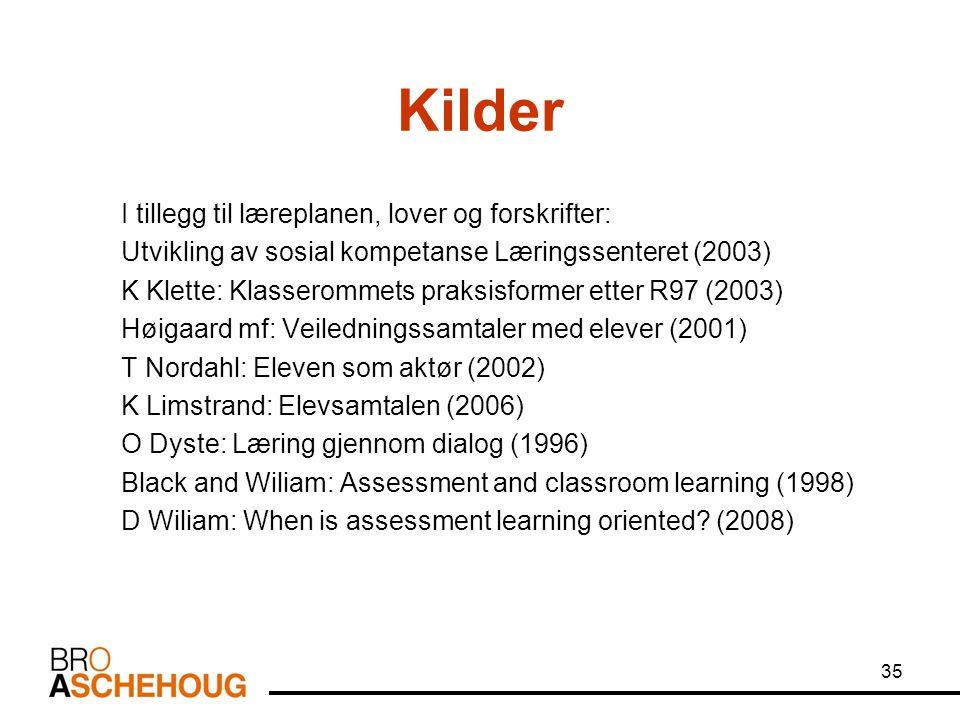 35 Kilder I tillegg til læreplanen, lover og forskrifter: Utvikling av sosial kompetanse Læringssenteret (2003) K Klette: Klasserommets praksisformer