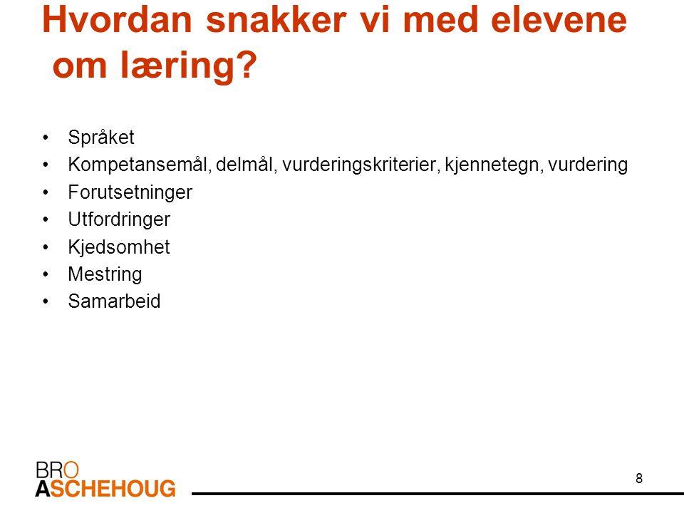 8 Hvordan snakker vi med elevene om læring? Språket Kompetansemål, delmål, vurderingskriterier, kjennetegn, vurdering Forutsetninger Utfordringer Kjed