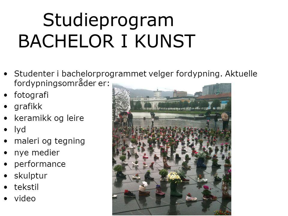 Studieprogram BACHELOR I KUNST Studenter i bachelorprogrammet velger fordypning.