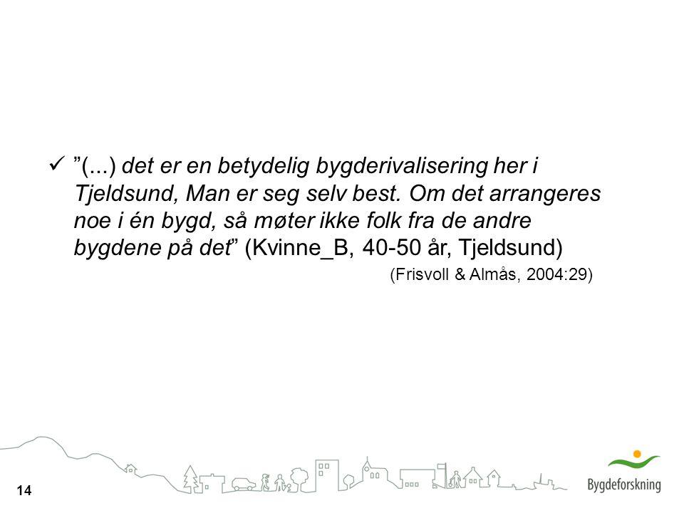 """14 """"(...) det er en betydelig bygderivalisering her i Tjeldsund, Man er seg selv best. Om det arrangeres noe i én bygd, så møter ikke folk fra de andr"""