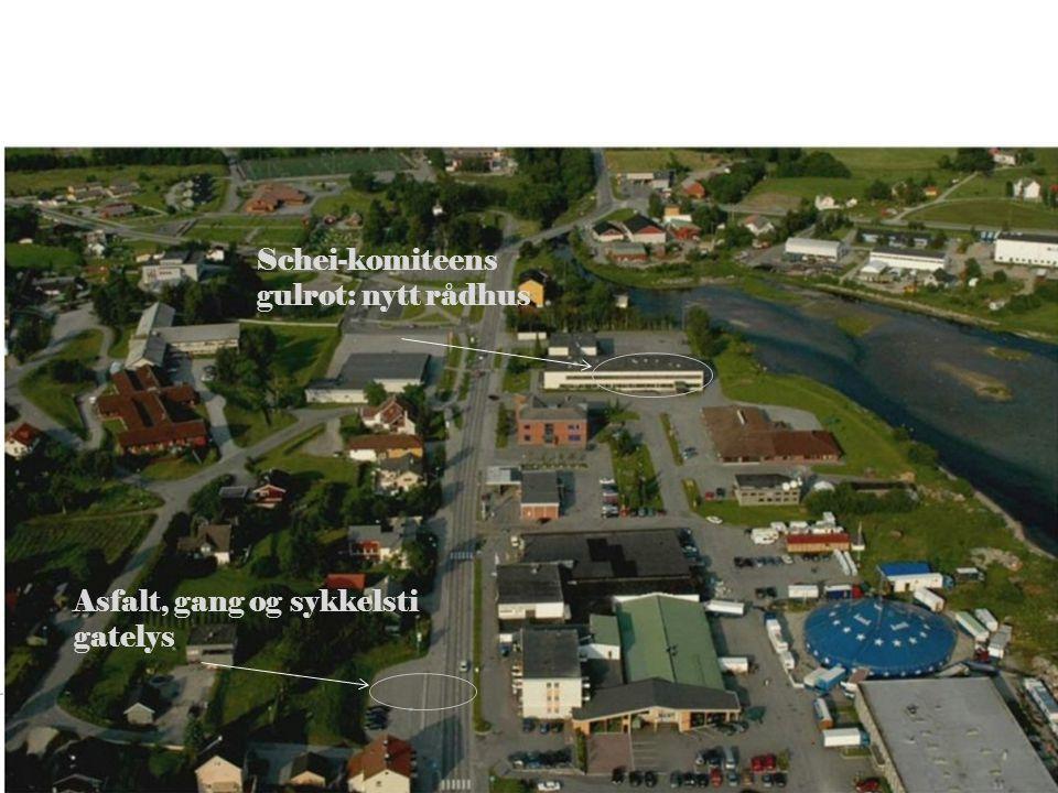 26 Schei-komiteens gulrot: nytt rådhus Asfalt, gang og sykkelsti gatelys