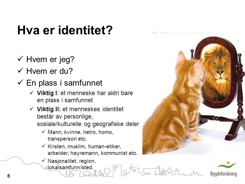 6 Hva er identitet? Hvem er jeg? Hvem er du? En plass i samfunnet Viktig I: et menneske har aldri bare en plass i samfunnet Viktig II: et menneskes id