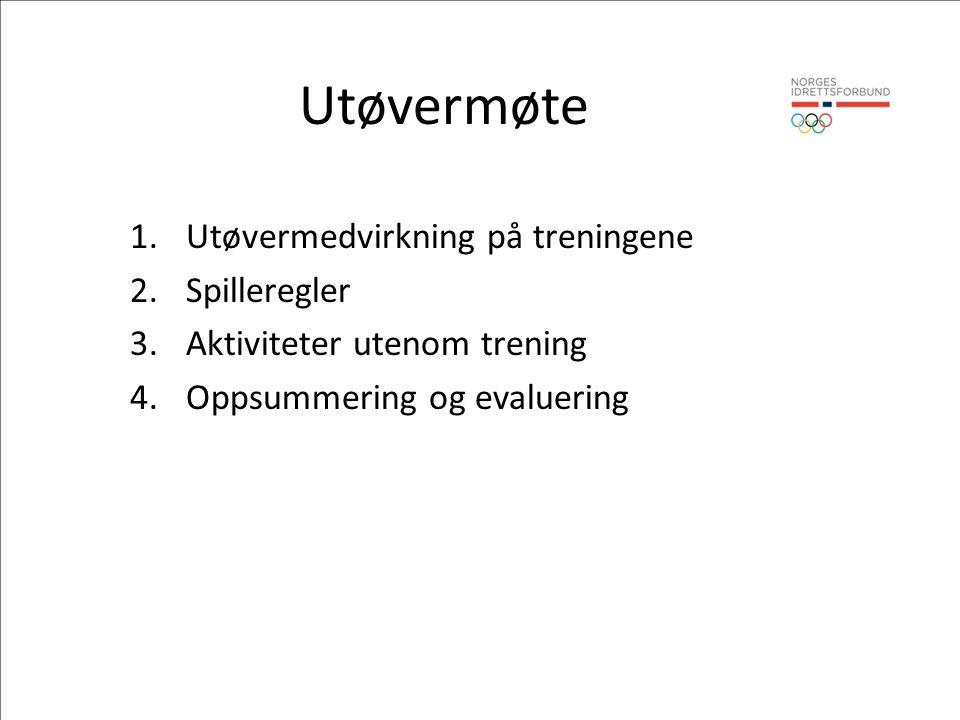 Utøvermøte 1.Utøvermedvirkning på treningene 2.Spilleregler 3.Aktiviteter utenom trening 4.Oppsummering og evaluering