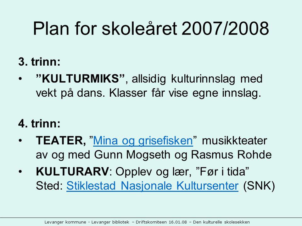Levanger kommune - Levanger bibliotek – Driftskomiteen 16.01.08 – Den kulturelle skolesekken Plan for skoleåret 2007/2008 3.