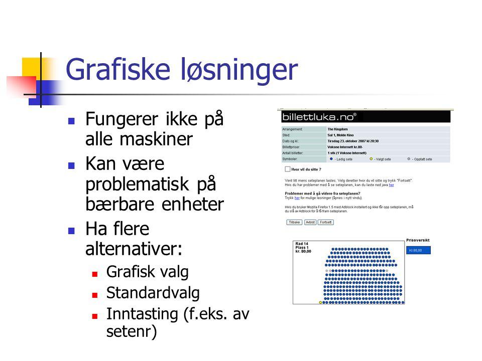 Fonttyper Sans serif (Arial, Modern, Tahoma, Verdana ) er best på skjerm (lav oppløsning) Serif (Times New Roman) er best på papir (høy oppløsning) Verdana er et godt alternativ i mange tilfeller