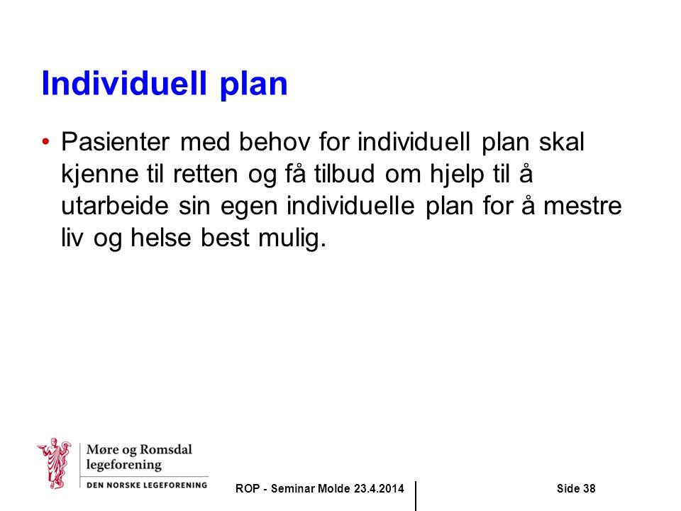 Individuell plan Pasienter med behov for individuell plan skal kjenne til retten og få tilbud om hjelp til å utarbeide sin egen individuelle plan for