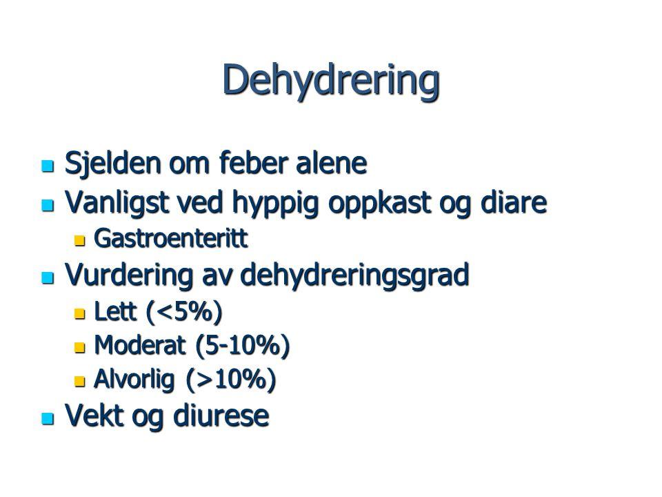 Dehydrering Sjelden om feber alene Sjelden om feber alene Vanligst ved hyppig oppkast og diare Vanligst ved hyppig oppkast og diare Gastroenteritt Gas