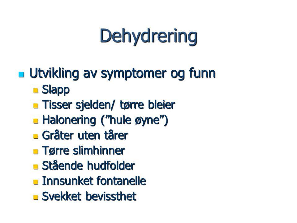 Dehydrering Utvikling av symptomer og funn Utvikling av symptomer og funn Slapp Slapp Tisser sjelden/ tørre bleier Tisser sjelden/ tørre bleier Halone