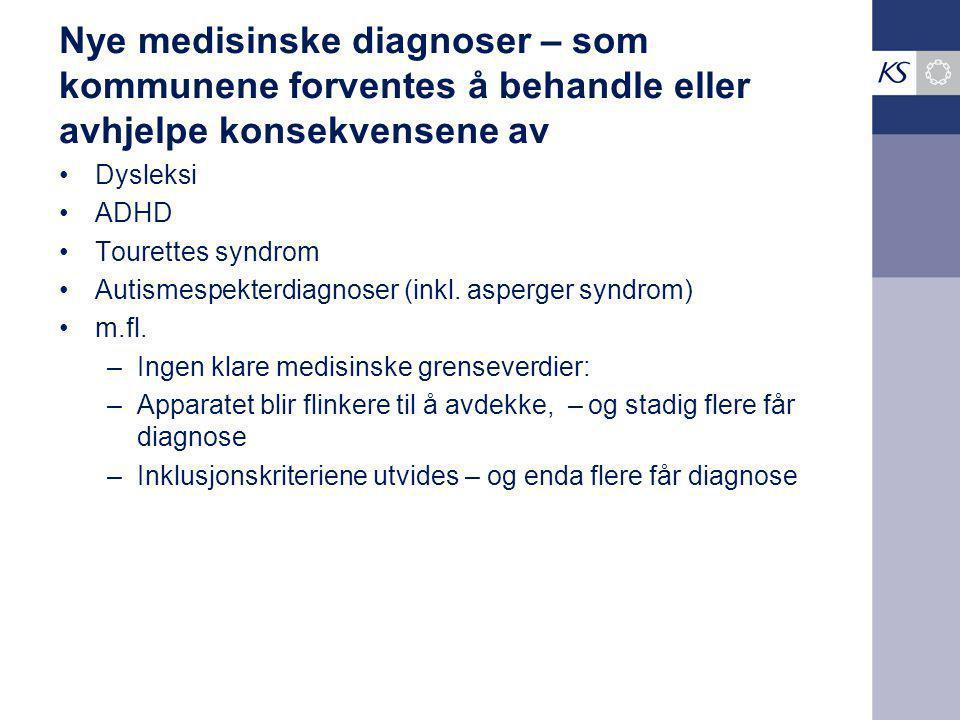 Nye medisinske diagnoser – som kommunene forventes å behandle eller avhjelpe konsekvensene av Dysleksi ADHD Tourettes syndrom Autismespekterdiagnoser (inkl.