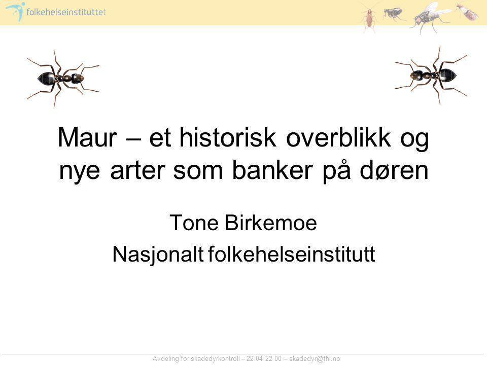 Avdeling for skadedyrkontroll – 22 04 22 00 – skadedyr@fhi.no Maur – et historisk overblikk og nye arter som banker på døren Tone Birkemoe Nasjonalt f