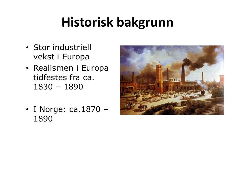 Historisk bakgrunn Stor industriell vekst i Europa Realismen i Europa tidfestes fra ca. 1830 – 1890 I Norge: ca.1870 – 1890