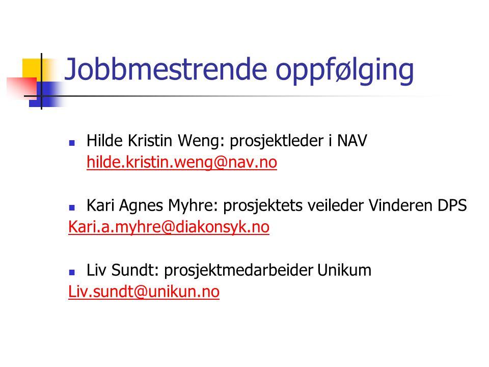 Jobbmestrende oppfølging Hilde Kristin Weng: prosjektleder i NAV hilde.kristin.weng@nav.no Kari Agnes Myhre: prosjektets veileder Vinderen DPS Kari.a.