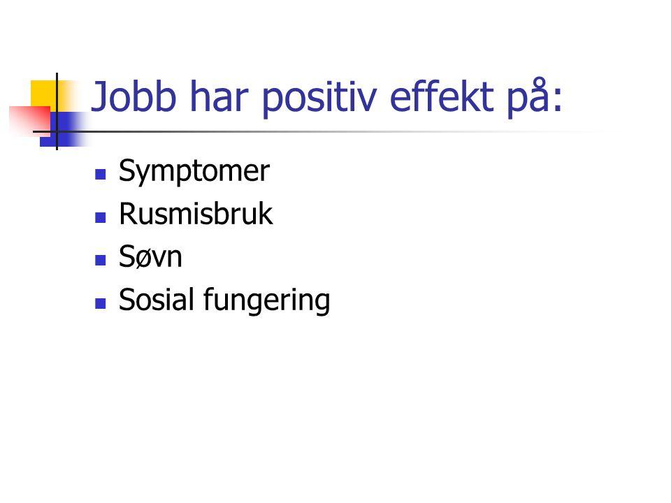 Jobb har positiv effekt på: Symptomer Rusmisbruk Søvn Sosial fungering