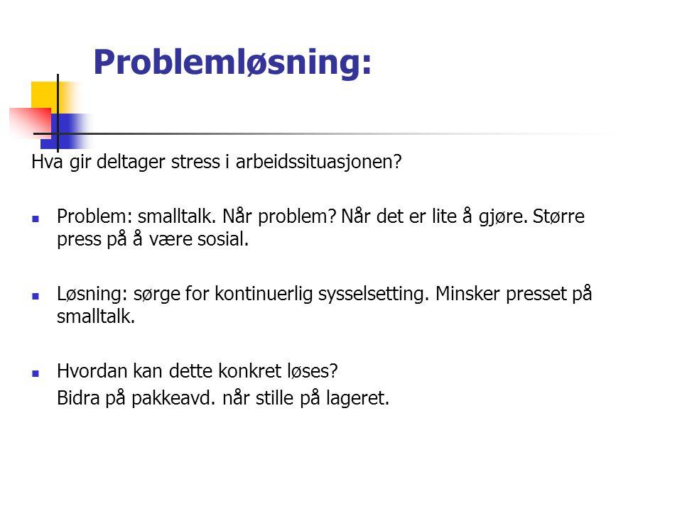 Problemløsning: Hva gir deltager stress i arbeidssituasjonen? Problem: smalltalk. Når problem? Når det er lite å gjøre. Større press på å være sosial.