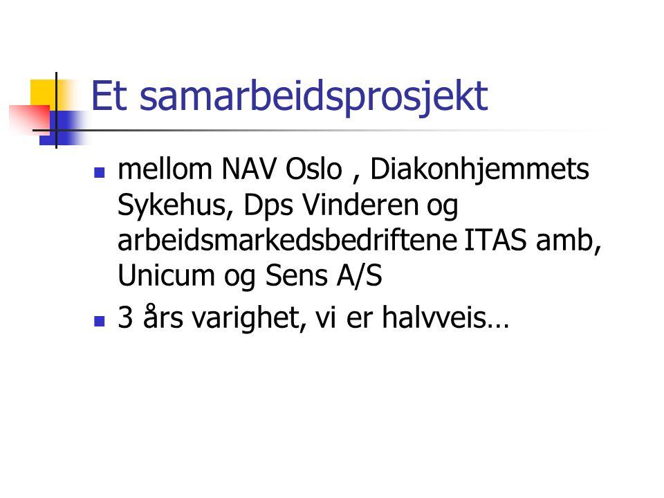 Et samarbeidsprosjekt mellom NAV Oslo, Diakonhjemmets Sykehus, Dps Vinderen og arbeidsmarkedsbedriftene ITAS amb, Unicum og Sens A/S 3 års varighet, v