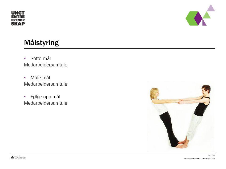 ue.no Målstyring Sette mål Medarbeidersamtale Måle mål Medarbeidersamtale Følge opp mål Medarbeidersamtale FRAMTID - SAMSPILL - SKAPERGLEDE