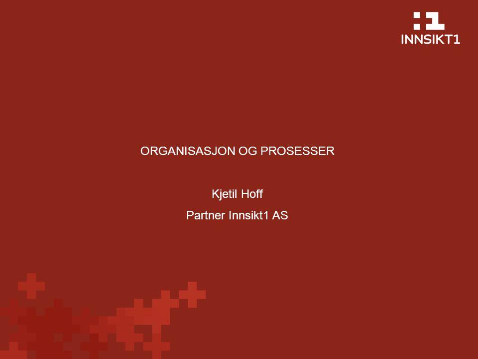 ORGANISASJON OG PROSESSER Kjetil Hoff Partner Innsikt1 AS