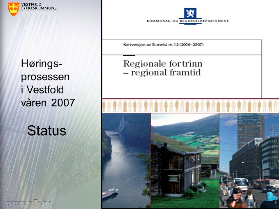 Hørings- prosessen i Vestfold våren 2007 Status