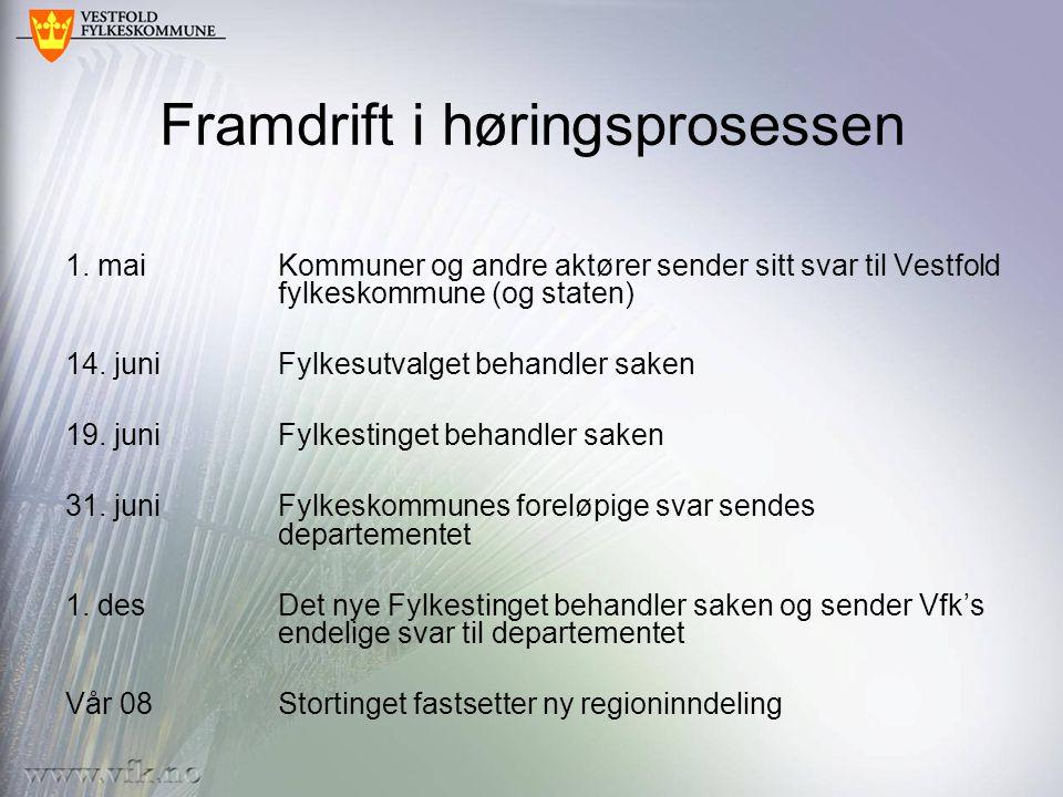 Framdrift i høringsprosessen 1. maiKommuner og andre aktører sender sitt svar til Vestfold fylkeskommune (og staten) 14. juniFylkesutvalget behandler