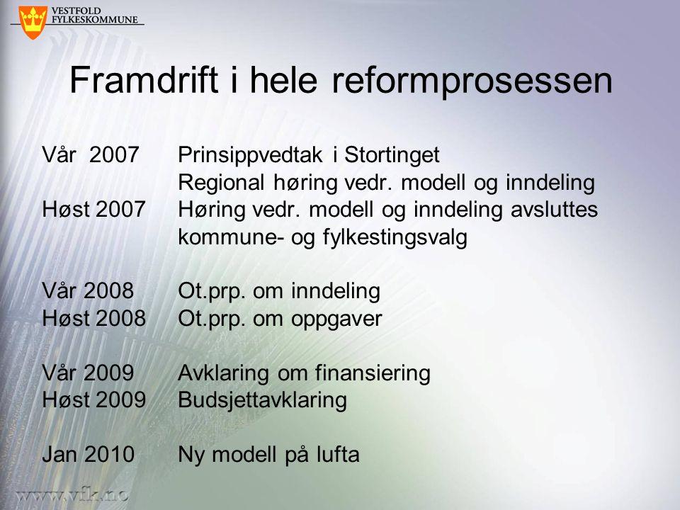 Framdrift i hele reformprosessen Vår 2007Prinsippvedtak i Stortinget Regional høring vedr.
