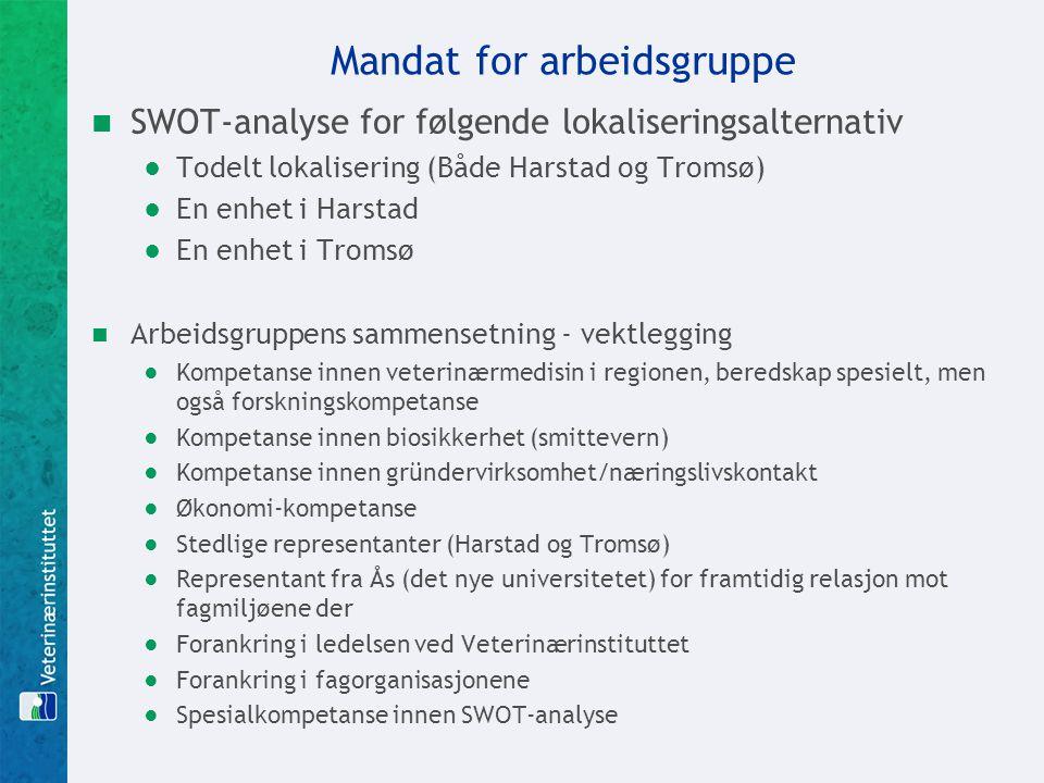 Mandat for arbeidsgruppe SWOT-analyse for følgende lokaliseringsalternativ ●Todelt lokalisering (Både Harstad og Tromsø) ●En enhet i Harstad ●En enhet
