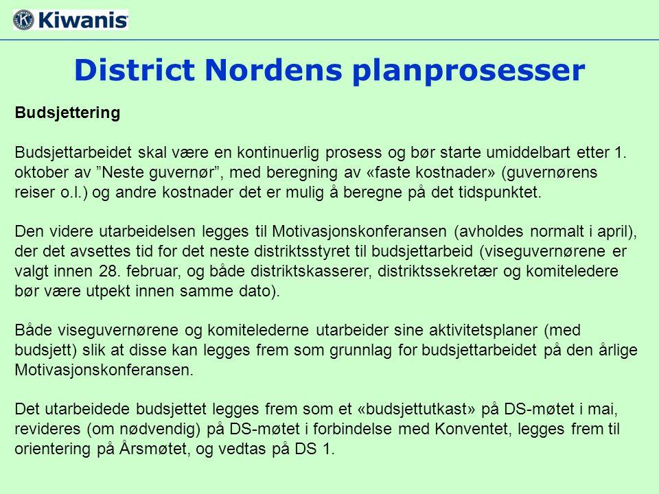 """District Nordens planprosesser Budsjettering Budsjettarbeidet skal være en kontinuerlig prosess og bør starte umiddelbart etter 1. oktober av """"Neste g"""