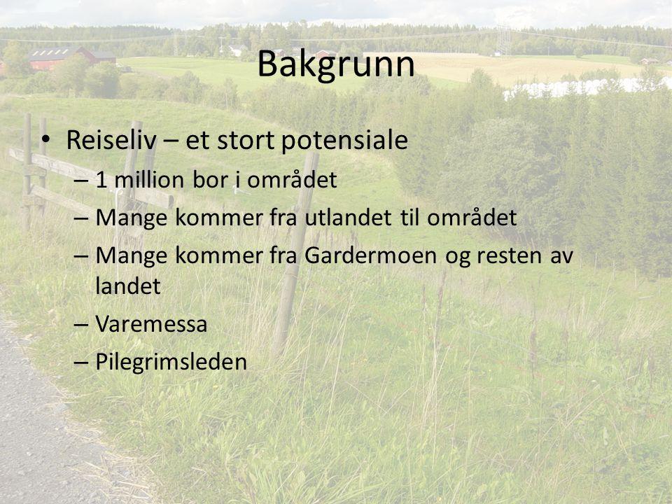 Bakgrunn Reiseliv – et stort potensiale – 1 million bor i området – Mange kommer fra utlandet til området – Mange kommer fra Gardermoen og resten av landet – Varemessa – Pilegrimsleden