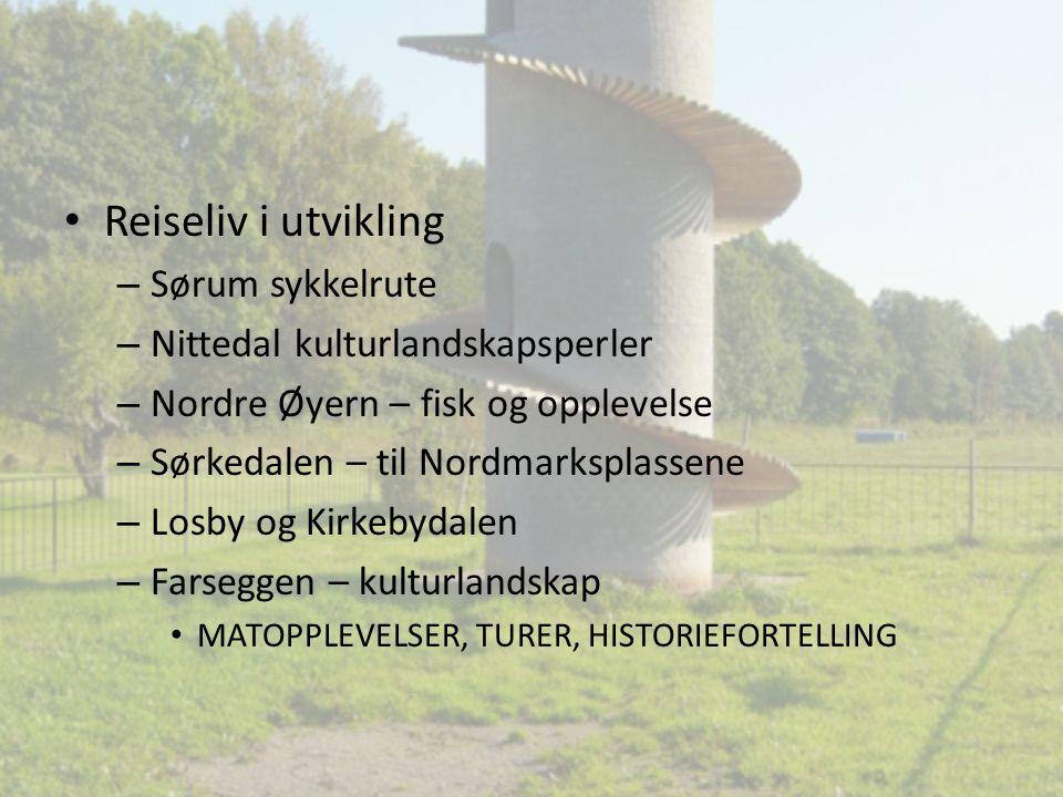 Reiseliv i utvikling – Sørum sykkelrute – Nittedal kulturlandskapsperler – Nordre Øyern – fisk og opplevelse – Sørkedalen – til Nordmarksplassene – Lo