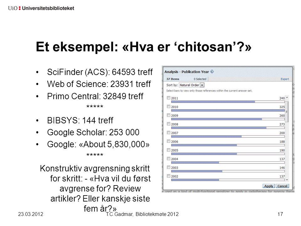 Et eksempel: «Hva er 'chitosan'?» SciFinder (ACS): 64593 treff Web of Science: 23931 treff Primo Central: 32849 treff ***** BIBSYS: 144 treff Google S