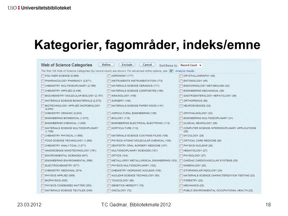 Kategorier, fagområder, indeks/emne 23.03.2012T.C.Gadmar, Bibliotekmøte 201218
