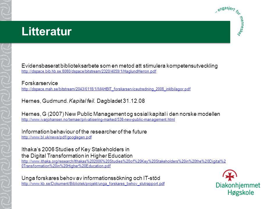 Litteratur Evidensbaserat biblioteksarbete som en metod att stimulera kompetensutveckling http://dspace.bib.hb.se:8080/dspace/bitstream/2320/4059/1/HaglundHerron.pdf http://dspace.bib.hb.se:8080/dspace/bitstream/2320/4059/1/HaglundHerron.pdf Forskarservice http://dspace.mah.se/bitstream/2043/6118/1/MAHBIT_forskarserviceutredning_2008_inklbilagor.pdf http://dspace.mah.se/bitstream/2043/6118/1/MAHBIT_forskarserviceutredning_2008_inklbilagor.pdf Hernes, Gudmund.
