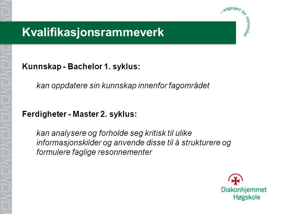Kvalifikasjonsrammeverk Kunnskap - Bachelor 1.