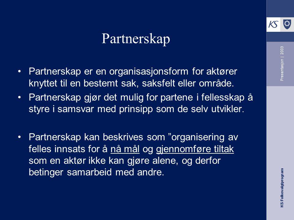 KS Folkevalgtprogram Presentasjon | 2003 Mulige samarbeidspartnere Fylkesmannen Statlige etater FOU KS, NHO, LO, SND Bransje/næringsforeninger, Same o