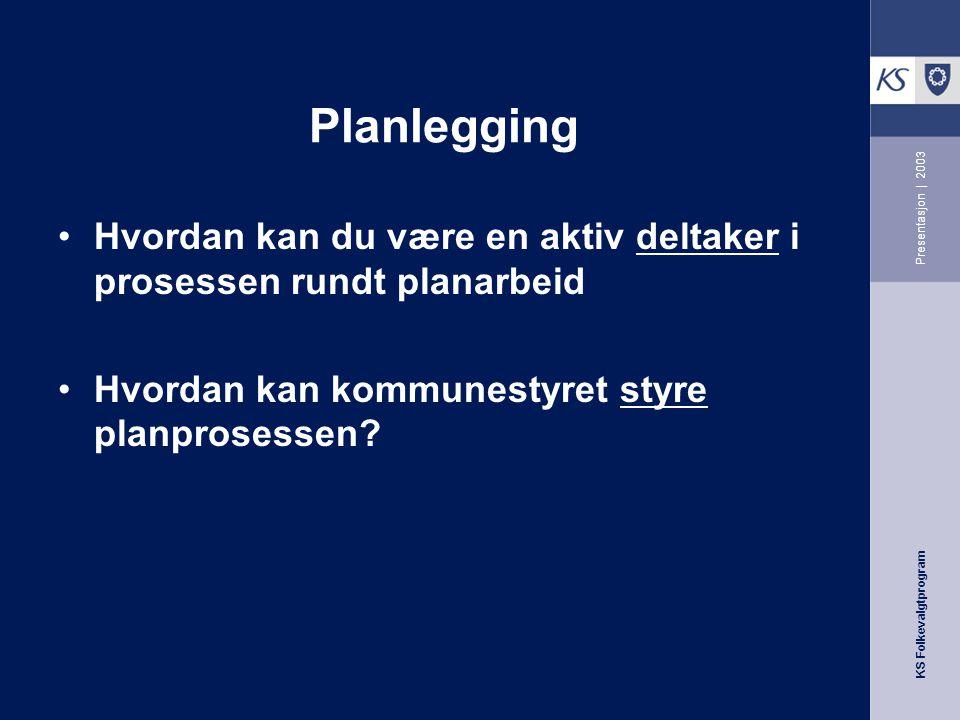 KS Folkevalgtprogram Presentasjon | 2003 Handlingsrommet Administrasjon - utreder Saksforbereder Tjenesteproduksjon Resultat Plan Prioritering Evaluer
