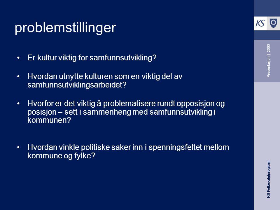 KS Folkevalgtprogram Presentasjon | 2003 Problemstillinger Hva slags kommune ønsker vi oss og hvordan skape en arena for god og utviklende dialog? Hvo