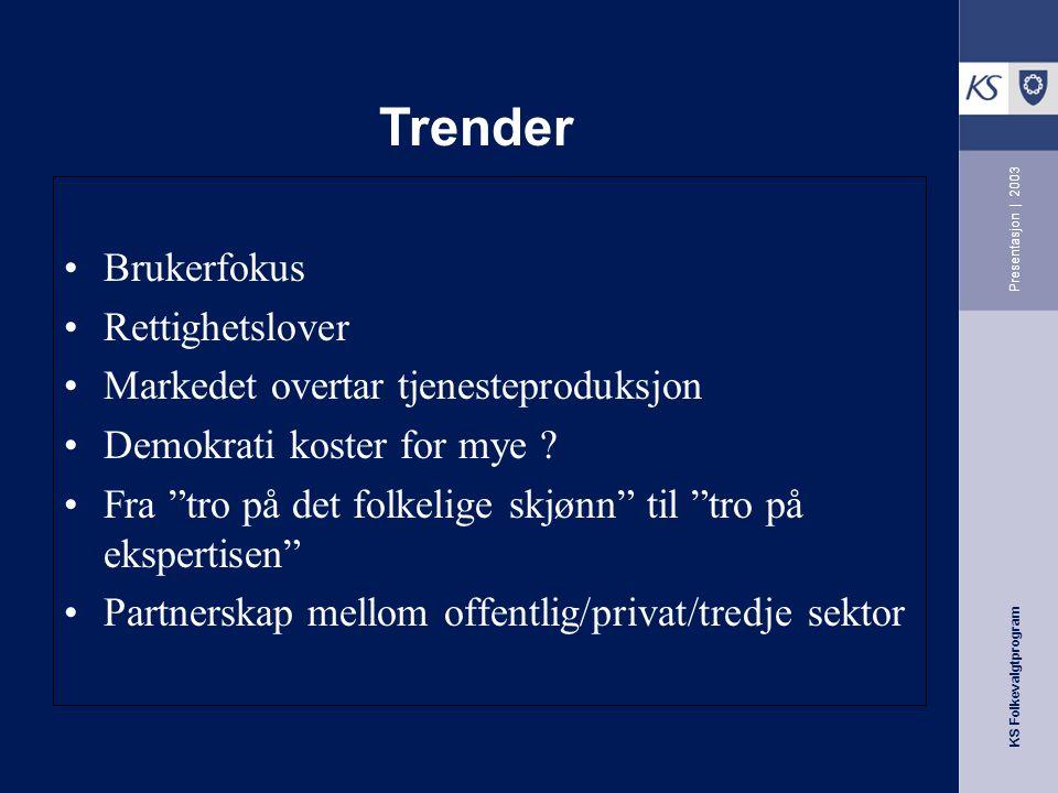 KS Folkevalgtprogram Presentasjon   2003 Brukerfokus Rettighetslover Markedet overtar tjenesteproduksjon Demokrati koster for mye .