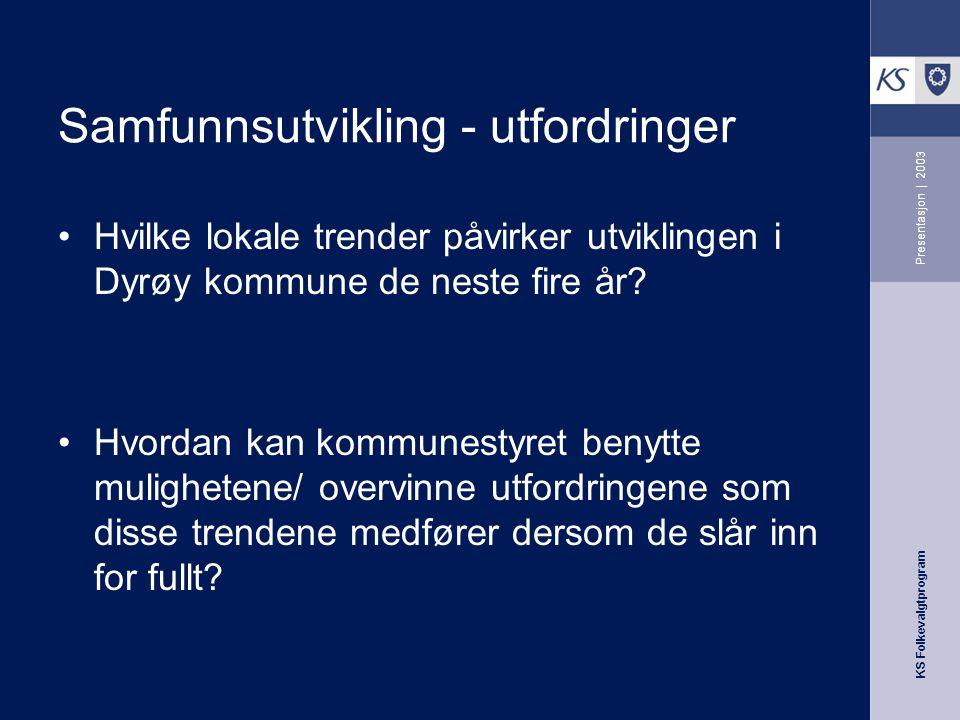 KS Folkevalgtprogram Presentasjon   2003 Samfunnsutvikling - utfordringer Hvilke lokale trender påvirker utviklingen i Dyrøy kommune de neste fire år.