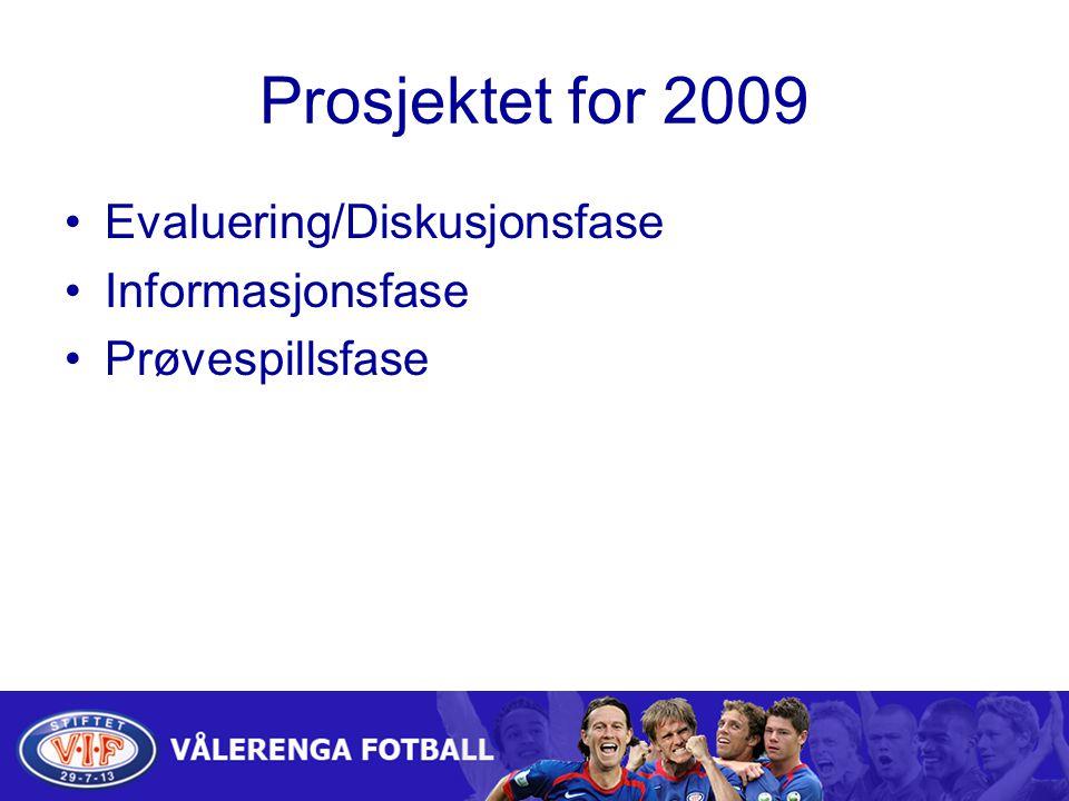 Prosjektet for 2009 Evaluering/Diskusjonsfase Informasjonsfase Prøvespillsfase