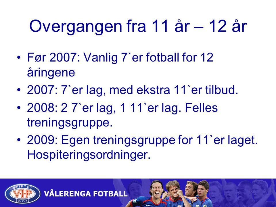 Overgangen fra 11 år – 12 år Før 2007: Vanlig 7`er fotball for 12 åringene 2007: 7`er lag, med ekstra 11`er tilbud.