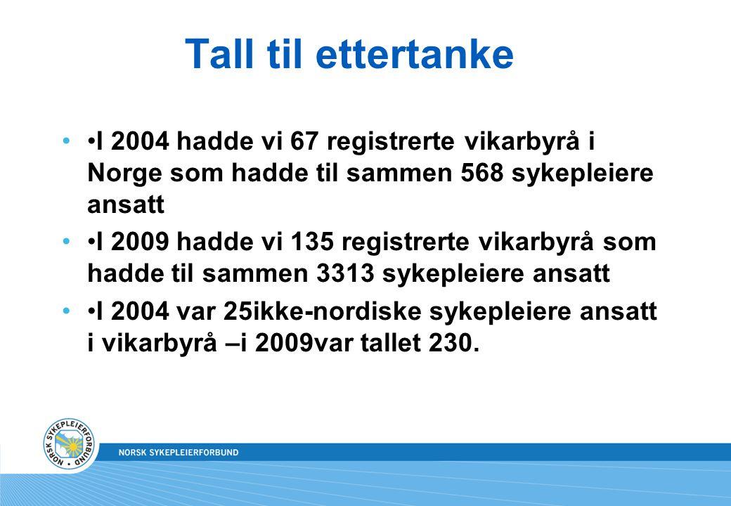 Tall til ettertanke I 2004 hadde vi 67 registrerte vikarbyrå i Norge som hadde til sammen 568 sykepleiere ansatt I 2009 hadde vi 135 registrerte vikarbyrå som hadde til sammen 3313 sykepleiere ansatt I 2004 var 25ikke-nordiske sykepleiere ansatt i vikarbyrå –i 2009var tallet 230.