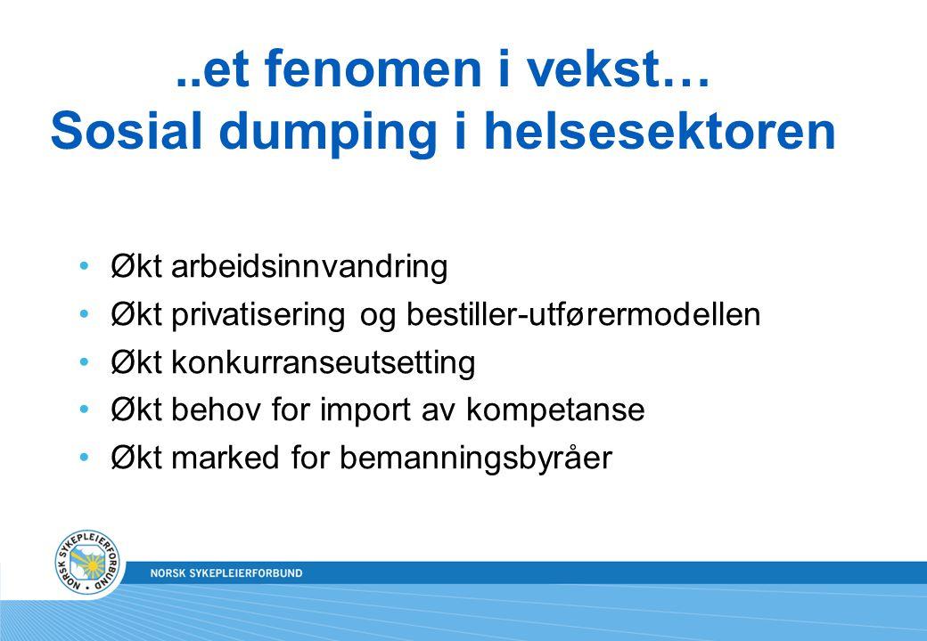 ..et fenomen i vekst… Sosial dumping i helsesektoren Økt arbeidsinnvandring Økt privatisering og bestiller-utførermodellen Økt konkurranseutsetting Økt behov for import av kompetanse Økt marked for bemanningsbyråer